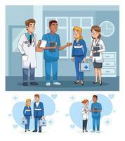 Reihe von Szenen mit professionellen Ärzten vektor