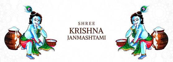 glücklich krishna janmashtami herr krishna kniend karten banner