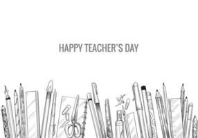 handgezeichnete Kunstskizze mit Komposition des Weltlehrertags vektor