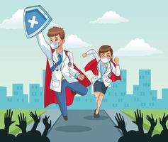Super Ärzte mit jubelnden Leuten vektor