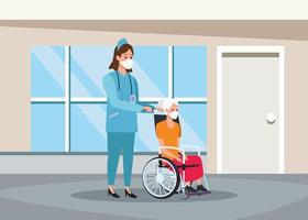 Krankenschwester, die ältere Person mit Gesichtsmaskenzeichen schützt