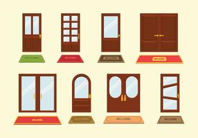 Välkomstmat och dörrvektorer vektor