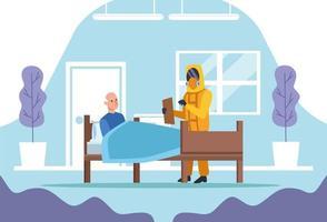 läkare med biohazarddräkt som skyddar äldre man