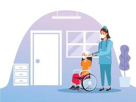 sjuksköterska som skyddar äldre kvinna