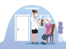 Ärztin, die sich um ältere Frau kümmert vektor
