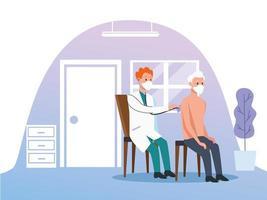 läkare som tar hand om en äldre man