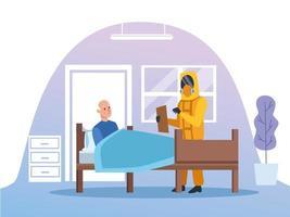 läkare med biohazarddräkt som tar hand om äldre man