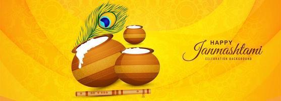 Happy Janmashtami mit Töpfen Grußkarte Banner auf gelb
