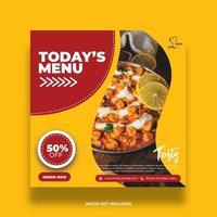 röd och gul mat menyn sociala medier post mall vektor