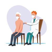 Arzt untersucht älteren Mann mit Schutzmasken