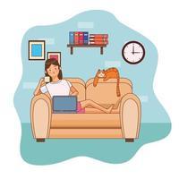 scenen för att arbeta hemma kvinna karaktär