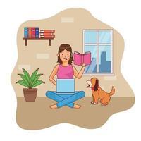 ung kvinna karaktär på hemmakontoret