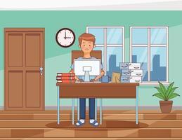 arbeta hemma ung man karaktär