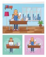 uppsättning scener av hemarbetare