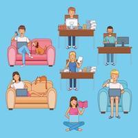 uppsättning scener av människor som arbetar hemma