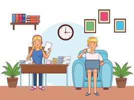 ett par som arbetar hemma