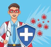 super läkare med en sköld