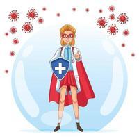 super kvinnlig läkare med sköld vs covid 19 partiklar