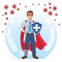 super läkare med sköld vs covid 19 partiklar