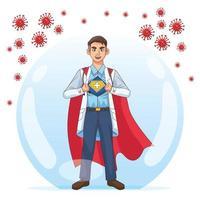 superdoktorn öppnar skjortan och kappan