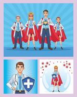 Super Ärzte mit Heldenmänteln und Schild vektor