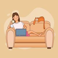 kvinnatecken och katt som arbetar hemifrån