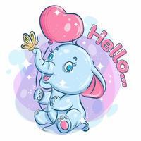 söt glad elefant som håller ballongen och leker med fjärilen vektor