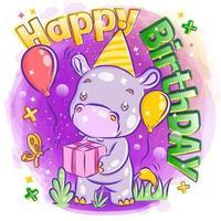 söt flodhäst firar födelsedag med gåva vektor