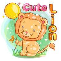 süßer Löwe, der einen gelben Ballon mit Schmetterling hält vektor