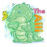 söt krokodil eller alligator som leker med fjärilen vektor