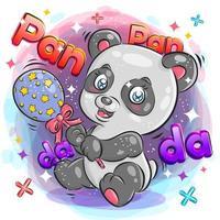 söt panda med glad uttryck som leker med leksak