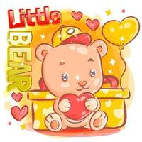 süßer Junge Bär hält Herz, das durch Valentinsgeschenk sitzt