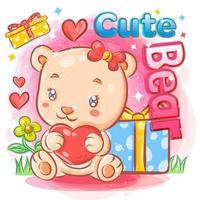 niedlicher weiblicher Bär in der Liebe, die Valentinstaggeschenke hält