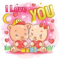 süßes Bärenpaar, das sich am Valentinstag verliebt fühlt