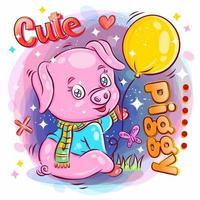 söt gris som håller och spelar med ballongen vektor