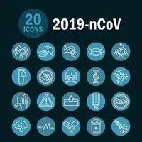 Blauer Kreis Pandemie verwandte Icon Set vektor