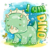 söta gröna triceratops som leker med fjärilen