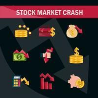 aktiemarknaden krasch Ikonuppsättning vektor