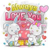 söta kaninpar som känner sig kära på alla hjärtans dag vektor