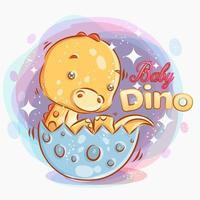 söt baby dino försöker komma ur ägget vektor