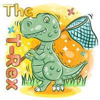 süßer t-rex hält ein schmetterlingsnetz im garten vektor
