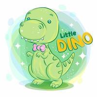 süßer Dino, der lächelt und rosa Band trägt vektor