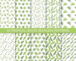 uppsättning tropiska blad sömlösa mönster vektor