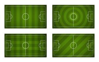 uppsättning fotbollsplaner med olika mönster vektor