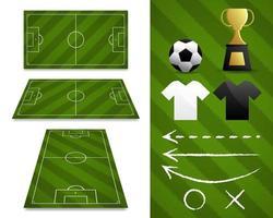en uppsättning fotbollsplaner och artiklar vektor