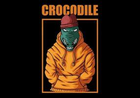 trendig krokodil i hoodie design vektor
