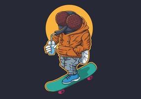 Fliegen Sie mit Getränk auf Skateboard Design vektor
