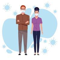 ein Paar mit Schutzmaske für Coronavirus vektor