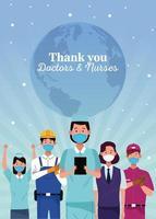 Gruppe von Arbeitern, die medizinische Masken mit Dankesnachricht verwenden