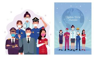 Arbeiter, die Gesichtsmasken benutzen und zusammen sind wir unbesiegbar